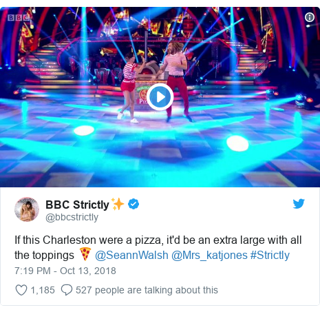 Twitter post by @bbcstrictly: If this Charleston were a pizza, it'd be an extra large with all the toppings 🍕 @SeannWalsh @Mrs_katjones #Strictly
