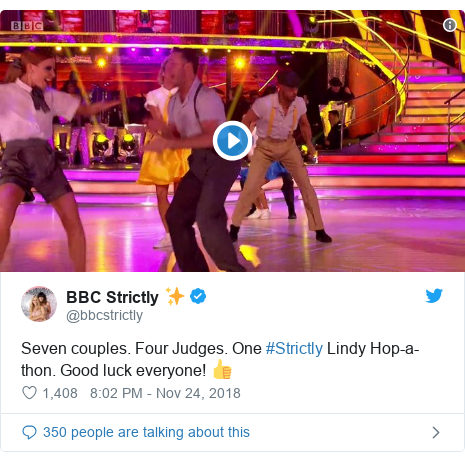 Twitter post by @bbcstrictly: Seven couples. Four Judges. One #Strictly Lindy Hop-a-thon. Good luck everyone! 👍