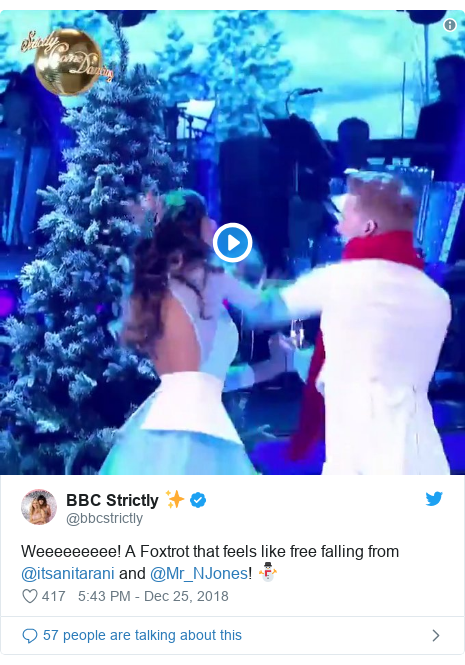 Twitter post by @bbcstrictly: Weeeeeeeee! A Foxtrot that feels like free falling from @itsanitarani and @Mr_NJones! ⛄️