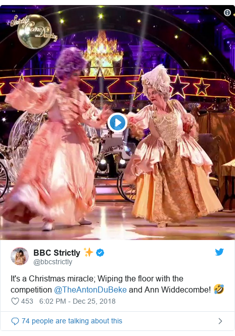 Twitter post by @bbcstrictly: It's a Christmas miracle; Wiping the floor with the competition @TheAntonDuBeke and Ann Widdecombe! 🤣