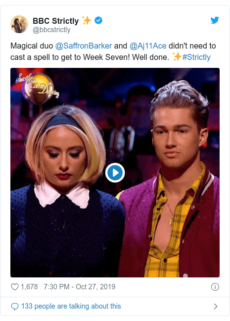 Twitter post by @bbcstrictly: Magical duo @SaffronBarker and @Aj11Ace didn't need to cast a spell to get to Week Seven! Well done. ✨#Strictly