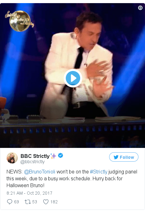 Twitter post by @bbcstrictly: NEWS  @BrunoTonioli won't be on the #Strictly judging panel this week, due to a busy work schedule. Hurry back for Halloween Bruno!