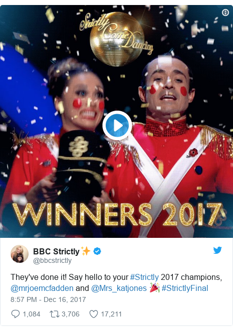 Twitter post by @bbcstrictly: They've done it! Say hello to your #Strictly 2017 champions, @mrjoemcfadden and @Mrs_katjones 🎉#StrictlyFinal