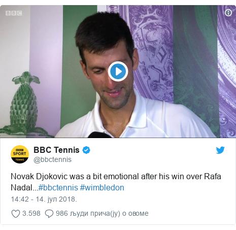Twitter post by @bbctennis: Novak Djokovic was a bit emotional after his win over Rafa Nadal...#bbctennis #wimbledon