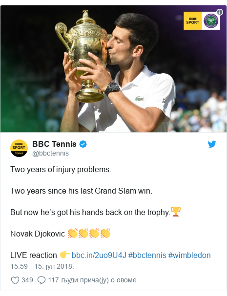 Twitter post by @bbctennis: Two years of injury problems.Two years since his last Grand Slam win.But now he's got his hands back on the trophy.🏆Novak Djokovic 👏👏👏👏LIVE reaction 👉  #bbctennis #wimbledon