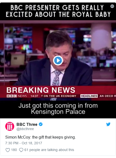 Twitter post by @bbcthree: Simon McCoy  the gift that keeps giving.
