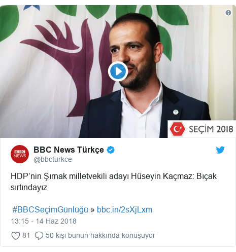 @bbcturkce tarafından yapılan Twitter paylaşımı: HDP'nin Şırnak milletvekili adayı Hüseyin Kaçmaz  Bıçak sırtındayız  #BBCSeçimGünlüğü »