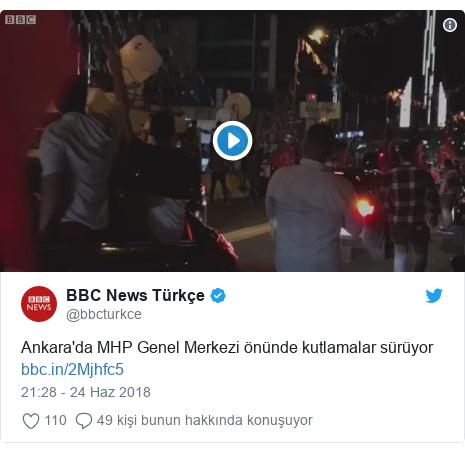 @bbcturkce tarafından yapılan Twitter paylaşımı: Ankara'da MHP Genel Merkezi önünde kutlamalar sürüyor