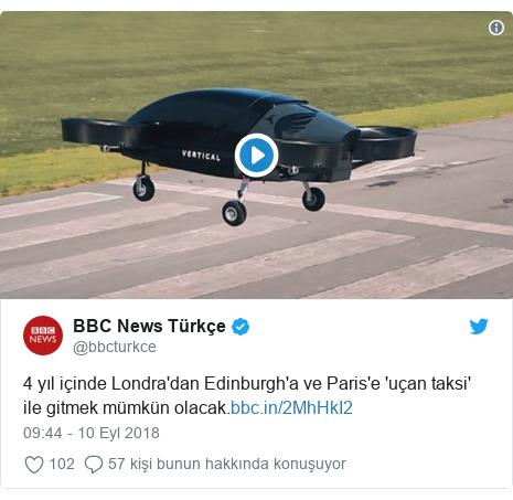 @bbcturkce tarafından yapılan Twitter paylaşımı: 4 yıl içinde Londra'dan Edinburgh'a ve Paris'e 'uçan taksi' ile gitmek mümkün olacak.