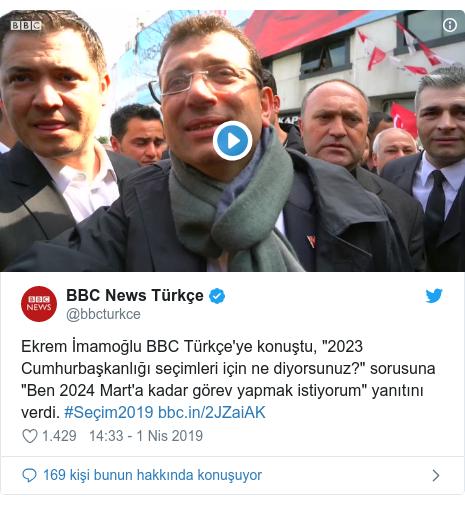 """@bbcturkce tarafından yapılan Twitter paylaşımı: Ekrem İmamoğlu BBC Türkçe'ye konuştu, """"2023 Cumhurbaşkanlığı seçimleri için ne diyorsunuz?"""" sorusuna """"Ben 2024 Mart'a kadar görev yapmak istiyorum"""" yanıtını verdi. #Seçim2019"""
