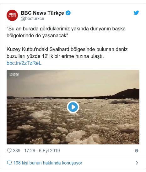 """@bbcturkce tarafından yapılan Twitter paylaşımı: """"Şu an burada gördüklerimiz yakında dünyanın başka bölgelerinde de yaşanacak""""Kuzey Kutbu'ndaki Svalbard bölgesinde bulunan deniz buzulları yüzde 12'lik bir erime hızına ulaştı."""