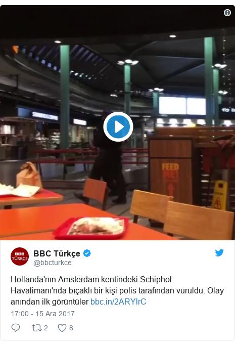 @bbcturkce tarafından yapılan Twitter paylaşımı: Hollanda'nın Amsterdam kentindeki Schiphol Havalimanı'nda bıçaklı bir kişi polis tarafından vuruldu. Olay anından ilk görüntüler