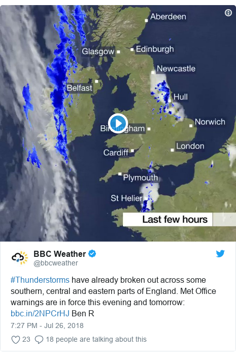 Twitter post by @bbcweather: #Thunderstorms have already broken out across some southern, central and eastern parts of England. Met Office warnings are in force this evening and tomorrow   Ben R