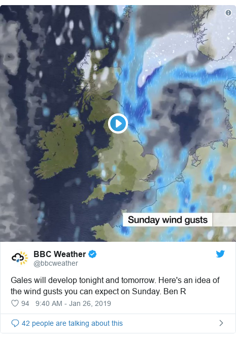 Twitter post by @bbcweather: Gales will develop tonight and tomorrow. Here's an idea of the wind gusts you can expect on Sunday. Ben R