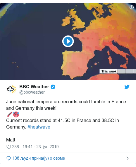 Twitter post by @bbcweather: June national temperature records could tumble in France and Germany this week!🌡️🥵Current records stand at 41.5C in France and 38.5C in Germany. #heatwaveMatt
