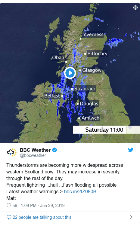 Twitter post by @bbcweather: Thunderstorms are becoming more widespread across western Scotland now. They may increase in severity through the rest of the day.Frequent lightning ...hail ...flash flooding all possibleLatest weather warnings > Matt
