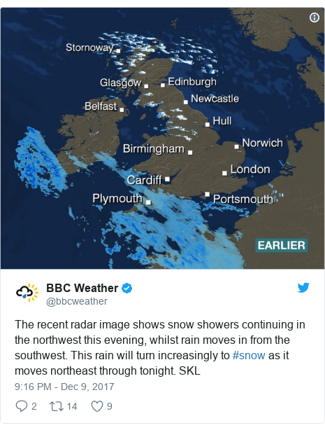 Twitter post by @bbcweather: The recent radar image shows snow showers continuing in the northwest this evening, whilst rain moves in from the southwest.  This rain will turn increasingly to #snow as it moves northeast through tonight. SKL