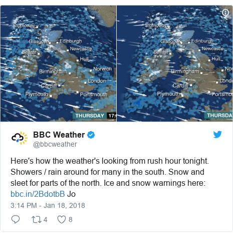 Twitter post by @bbcweather: Here's how the weather's looking from rush hour tonight. Showers / rain around for many in the south. Snow and sleet for parts of the north. Ice and snow warnings here   Jo