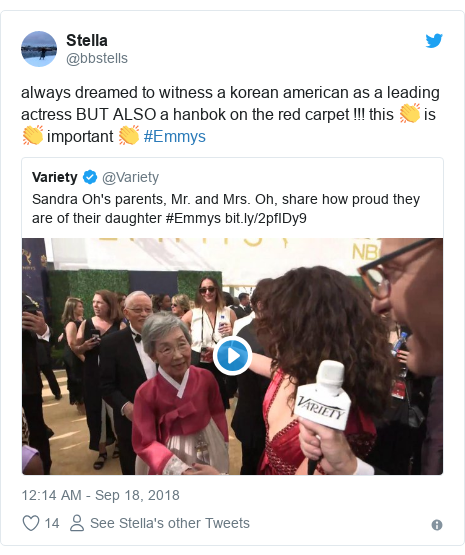 Twitter post by @bbstells: always dreamed to witness a korean american as a leading actress BUT ALSO a hanbok on the red carpet !!! this 👏 is 👏 important 👏 #Emmys
