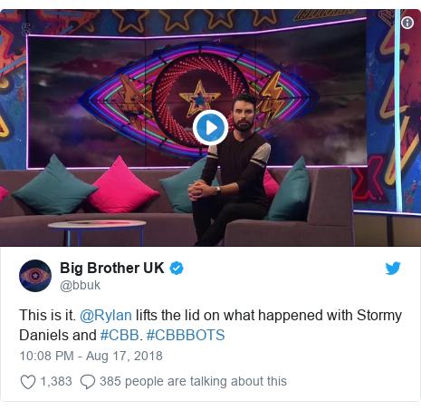 Twitter post by @bbuk: This is it. @Rylan lifts the lid on what happened with Stormy Daniels and #CBB. #CBBBOTS