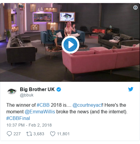 Twitter post by @bbuk: The winner of #CBB 2018 is.... @courtneyact! Here's the moment @EmmaWillis broke the news (and the internet). #CBBFinal