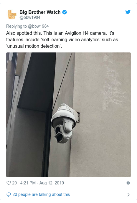 Twitter post by @bbw1984: Also spotted this. This is an Avigilon H4 camera. It's features include 'self learning video analytics' such as 'unusual motion detection'.