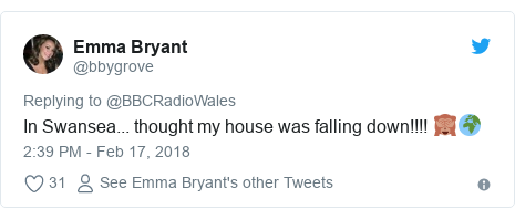Twitter post by @bbygrove: In Swansea... thought my house was falling down!!!! 🙈🌍