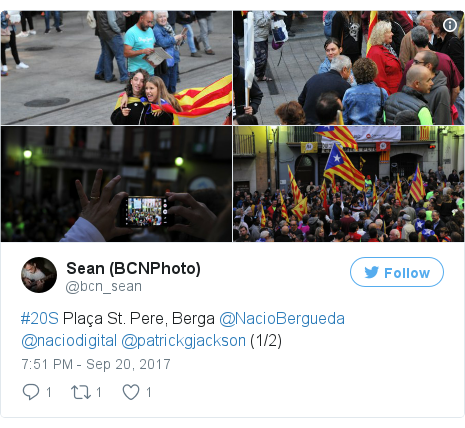 Twitter post by @bcn_sean: #20S Plaça St. Pere, Berga @NacioBergueda @naciodigital @patrickgjackson (1/2) pic.twitter.com/DvqHGfGVuH