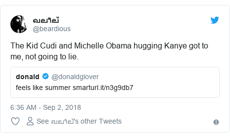 Twitter post by @beardious: The Kid Cudi and Michelle Obama hugging Kanye got to me, not going to lie.