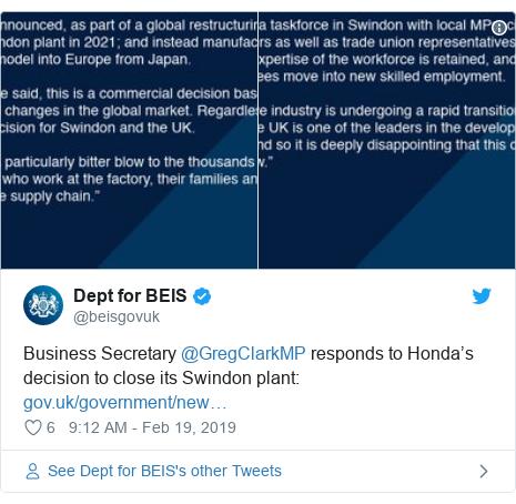 Twitter post by @beisgovuk: Business Secretary @GregClarkMP responds to Honda's decision to close its Swindon plant