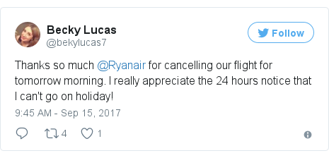 Twitter post by @bekylucas7: Thanks so much @Ryanair for cancelling our flight for tomorrow morning. I really appreciate the 24 hours notice that I can't go on holiday!