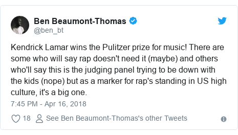 Twitter post by @ben_bt: Kendrick Lamar wins the Pulitzer prize for music! There are some who will say rap doesn't need it (maybe) and others who'll say this is the judging panel trying to be down with the kids (nope) but as a marker for rap's standing in US high culture, it's a big one.