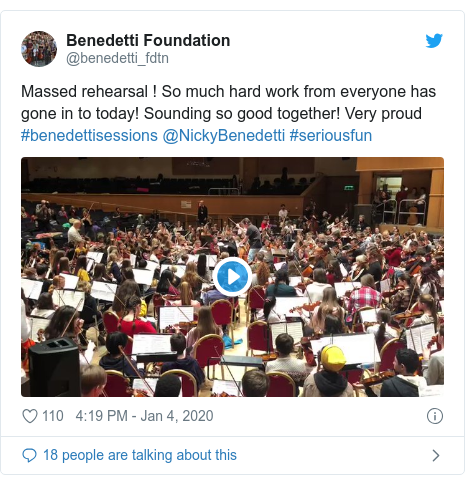 Twitter post by @benedetti_fdtn: Massed rehearsal ! So much hard work from everyone has gone in to today! Sounding so good together! Very proud #benedettisessions @NickyBenedetti #seriousfun