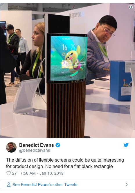 Twitter post by @benedictevans: The diffusion of flexible screens could be quite interesting for product design. No need for a flat black rectangle.