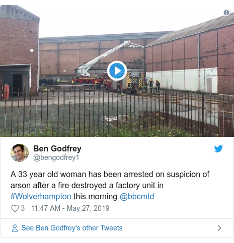 Twitter post by @bengodfrey1: A 33 year old woman has been arrested on suspicion of arson after a fire destroyed a factory unit in #Wolverhampton this morning @bbcmtd