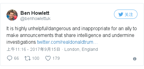 Twitter 用户名 @benhowlettuk: It is highly unhelpful/dangerous and inappropriate for an ally to make announcements that share intelligence and undermine investigations https //t.co/rHcrE8oUNz