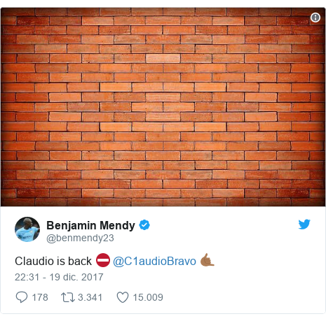Publicación de Twitter por @benmendy23: Claudio is back ⛔️ @C1audioBravo 🤙🏾