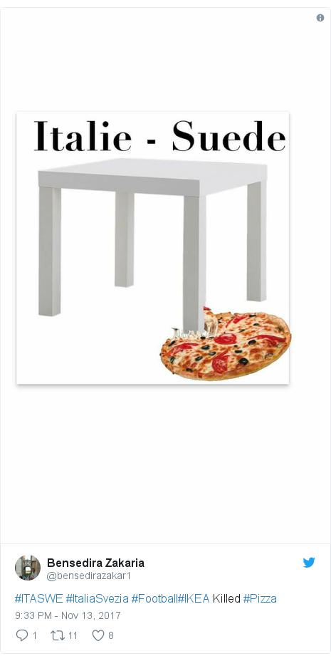 Twitter post by @bensedirazakar1: #ITASWE #ItaliaSvezia #Football#IKEA Killed #Pizza