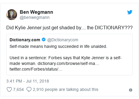 Twitter post by @benwegmann: Did Kylie Jenner just get shaded by.... the DICTIONARY???
