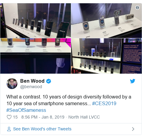 Twitter post by @benwood: What a contrast. 10 years of design diversity followed by a 10 year sea of smartphone sameness... #CES2019 #SeaOfSameness