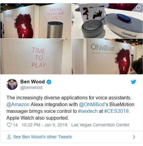 Twitter post by @benwood: The increasingly diverse applications for voice assistants. @Amazon Alexa integration with @OhMiBod's BlueMotion massager brings voice control to #sextech at #CES2019. Apple Watch also supported.
