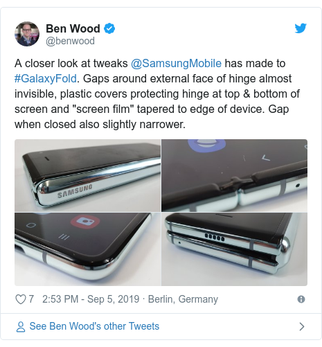 """Twitter post by @benwood: A closer look at tweaks @SamsungMobile has made to #GalaxyFold. Gaps around external face of hinge almost invisible, plastic covers protecting hinge at top & bottom of screen and """"screen film"""" tapered to edge of device. Gap when closed also slightly narrower."""