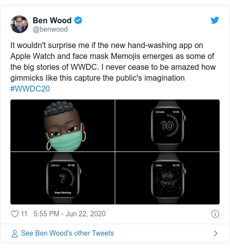 Twitter post by @benwood: It wouldn't surprise me if the new hand-washing app on Apple Watch and face mask Memojis emerges as some of the big stories of WWDC. I never cease to be amazed how gimmicks like this capture the public's imagination #WWDC20