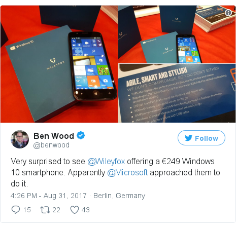 Twitter post by @benwood: Very surprised to see @Wileyfox offering a €249 Windows 10 smartphone. Apparently @Microsoft approached them to do it. pic.twitter.com/aaq7qH1IGW