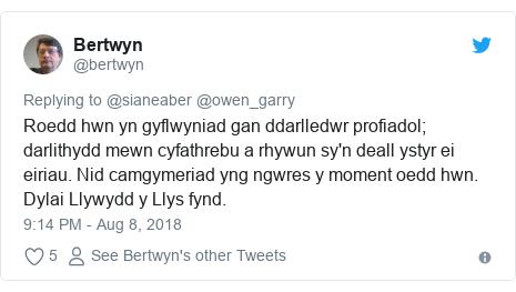 Neges Twitter gan @bertwyn: Roedd hwn yn gyflwyniad gan ddarlledwr profiadol; darlithydd mewn cyfathrebu a rhywun sy'n deall ystyr ei eiriau. Nid camgymeriad yng ngwres y moment oedd hwn. Dylai Llywydd y Llys fynd.
