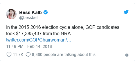 Twitter post by @bessbell: In the 2015-2016 election cycle alone, GOP candidates took $17,385,437 from the NRA.