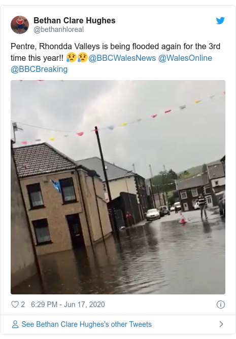 Twitter post by @bethanhloreal: Pentre, Rhondda Valleys is being flooded again for the 3rd time this year!! 😥😥@BBCWalesNews @WalesOnline @BBCBreaking