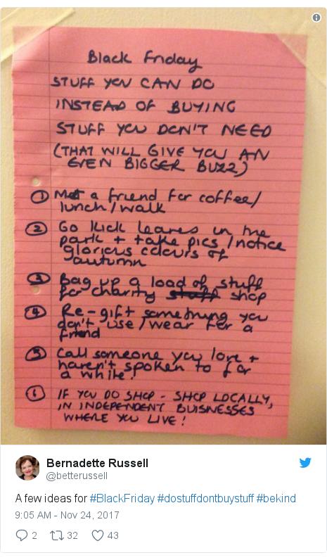 Twitter post by @betterussell: A few ideas for #BlackFriday #dostuffdontbuystuff #bekind