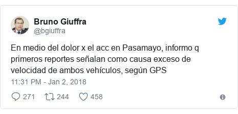 Twitter post by @bgiuffra: En medio del dolor x el acc en Pasamayo, informo q primeros reportes señalan como causa exceso de velocidad de ambos vehículos, según GPS