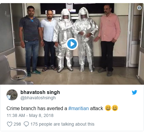 Twitter post by @bhavatoshsingh: Crime branch has averted a #maritian attack 😀😀